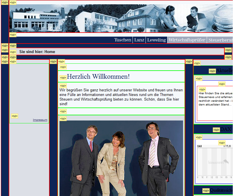 Screenshot einer Website im Tabellenlayout