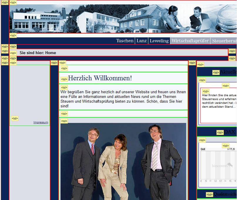 Screenshot einer Website im Tabellenlayout