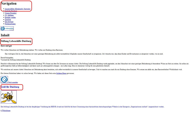 Screenshot einer Website in flexiblem Layout mit abgeschaltetem CSS